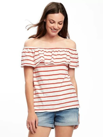 Remera Old Navy Rayada Off The Shoulder Talle Xxl - 7247