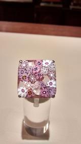 91e0c7280c83 Anillo Muy Grande Cristal De Murano Y Plata - Anillos en Mercado ...