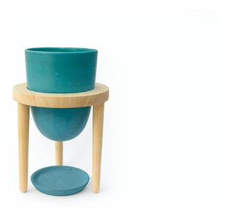 Maceta O-lab Diseño Plantas Madera Ceramica