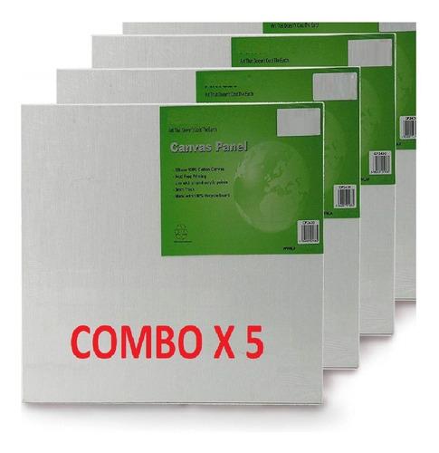 Set De 5 Lienzos Cuadrados Blancos Con Bastidores 25 X 25 Cm