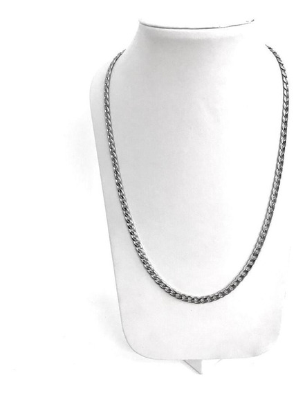 Collar Acero Color Plata 7mm Gruesox 60cm Largo Envío Gratis