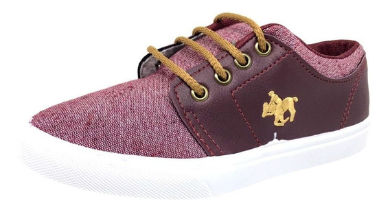 Tênis Monte Carlo Polo Club Casual Bordado Kids Vinho