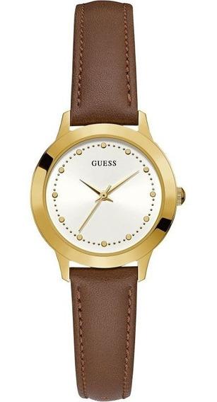 Reloj Guess Malla De Cuero Marron Dorado W0993l2