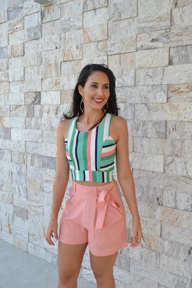 Conjunto Feminino Short Cintura Alta Presp E Cropped Listra