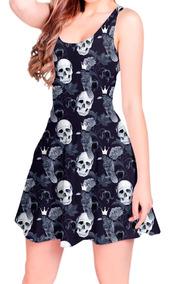 Vestido Boneca Curto Estampado Skull Crow Rock Printfull