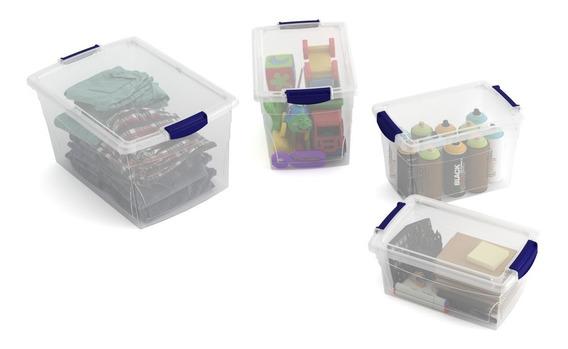 Set De 4 Cajas Organizadoras De Plástico Xs S M L Con Tapa