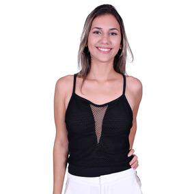 Blusa Alcinha Com Tela Lilas Chique 10797 - Asya Fashion