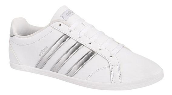 Tenis Casual adidas Vs Coneo Qt W Blanco Plata Mujer 176422