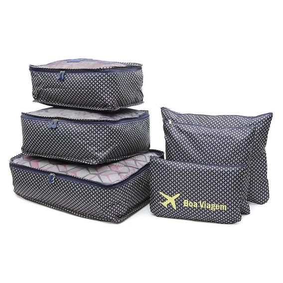 2 Kit Organizador De Mala 6 Peças Cada P/ Viagem Necessaire