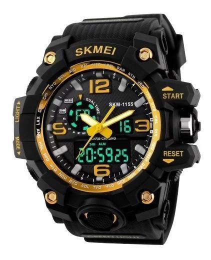 Relógio Masculino Skmei 1155 Preto/dourado + Brinde