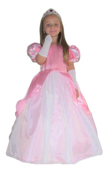 Vestido De Festa Princesa Ariel Rosa Infantil Armado E Luva