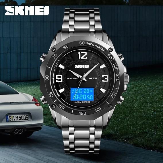 Relógio Masculino Skmei Prata Duplo Display Multifunção