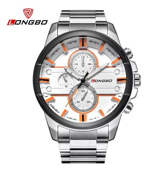 Relógio Masculino Longbo 80240 Silver White Com Frete Grátis