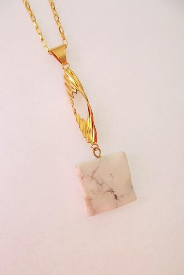Colar Pedra Natural Howlita Branca Folheado A Ouro