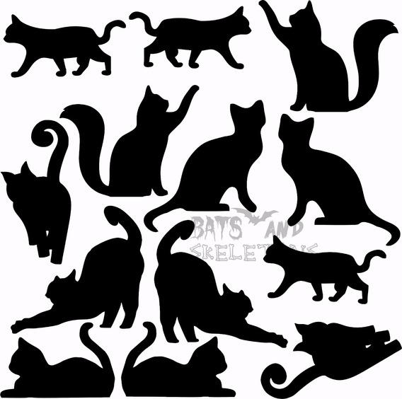Cartela Adesivo 13 Gatos Preto Vinil Decoração Halloween