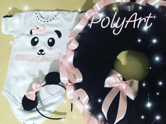 Fantasia Panda Vestido Body Tutu Mesversario Ou Aniversário