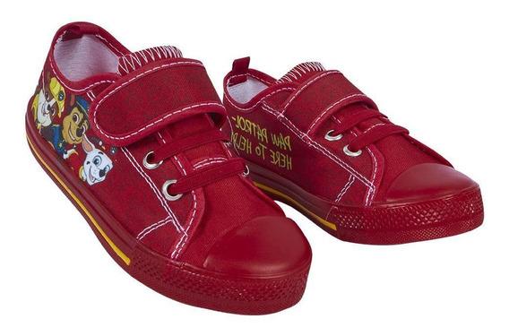 Zapato Tenis Niño Diseño Paw Patrol Color Rojo Con Agujetas