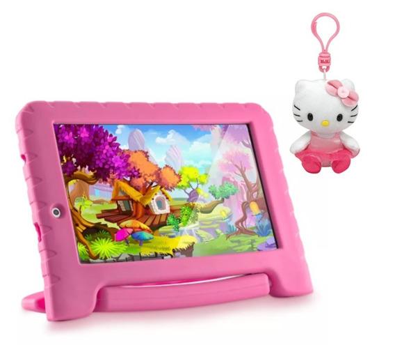 Tablet Kid Pad Rosa Android 7 Tela 7 + Chaveiro Hello Kit