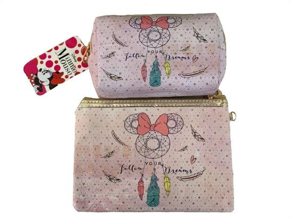 Kit 2 Necessaire Minnie Mandala Lilás Disney Licenciado