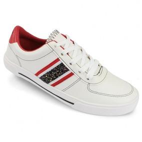 Tênis Casual Moleca Branco/vermelho Ref; 5640-107