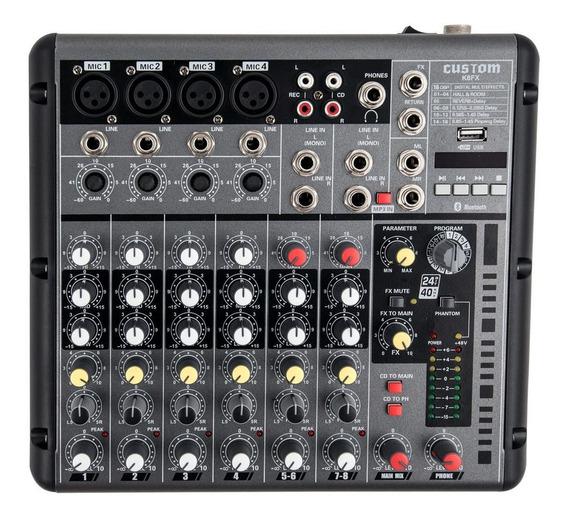 Mesa De Som Amw K8 8 Canais Reverb Bluetooth Mp3 Usb Loja !
