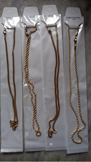 Kit 10 Corrente Aço Inoxidável 316l Flohado A Ouro