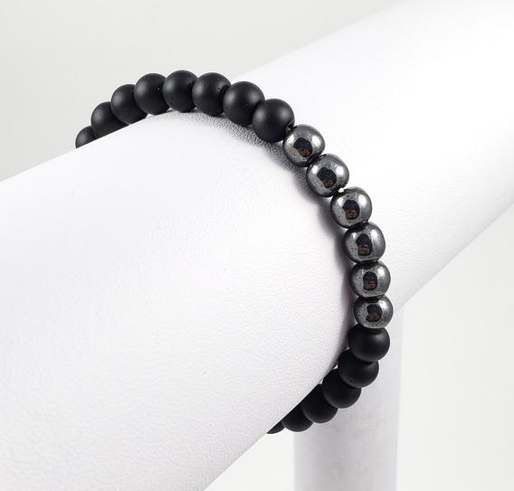 Pulseira Bracelete Masculina Bolinhas Pretas E Onix 6mm
