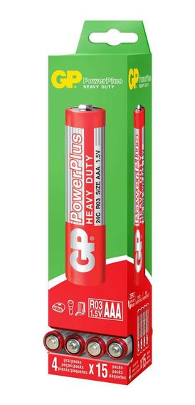 240 Pilhas Aaa 3a Comum Powerplus Gp Zinco Carvão - 4 Caixas