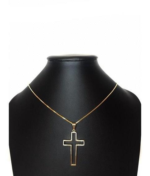 Corrente Elo Cartier Crucifixo Vazado Banhado A Ouro Amarelo