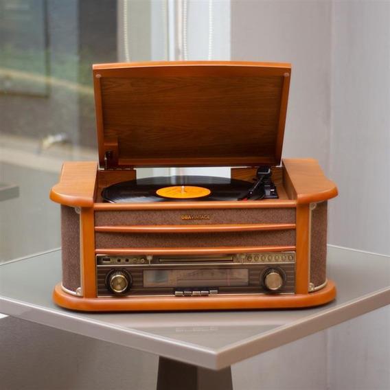 Vitrola Toca Discos Original Bivolt Madeira, Cd, Usb, Rádio Fm, K7, Aux, Toca E Grava Obavintage