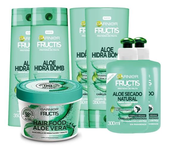 Pack Rutina Aloe Hidra Bomb Fructis Garnier 8 Unidades