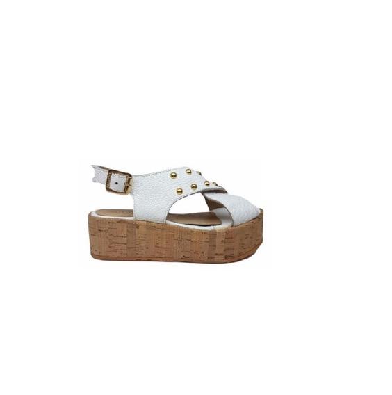 Zapato Mujer Sandalia Natacha Cuero Blanco Y Tachas #4444