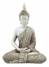 Buda Hindu Tailandês Tibetano Sidarta Em Resina Branco 20cm.