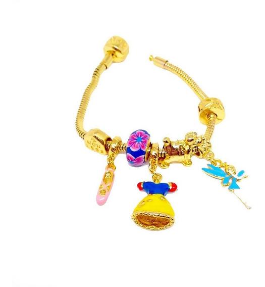 Pulseira Pandora Com Berloques Folheado A Ouro 18k Princesa