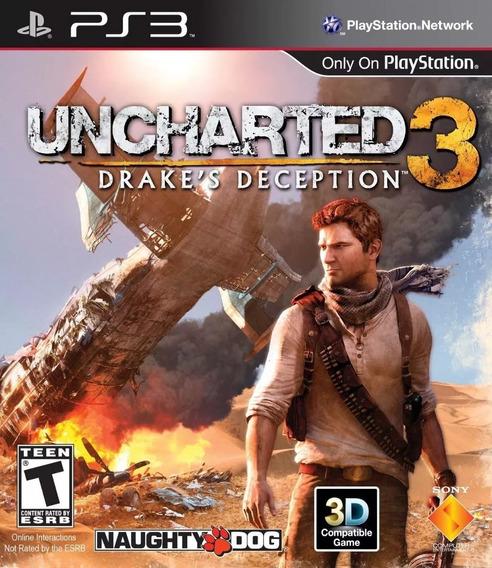 Uncharted 3 Drakes Deception Ps3 Midia Física Português
