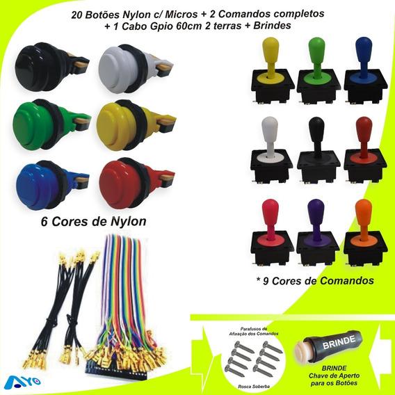 Kit 20 Botões Arcade + 02 Comandos + 1 Cabo Gpio C/ 2 Terras