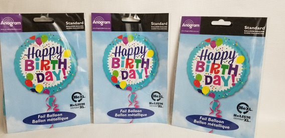 3 Globos Happy Birthday Para Helio Talla Xl 43cm Fiesta