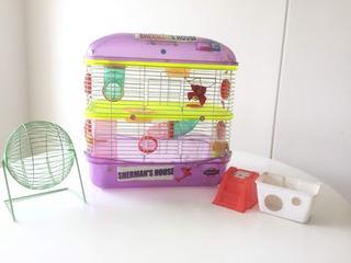 Jaula De Tres Niveles Para Hamster Gratis Rueda Y Accesorios