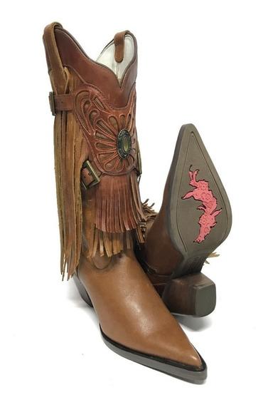 Bota Texana Country Feminina Goyazes Bico Fino Com Franja