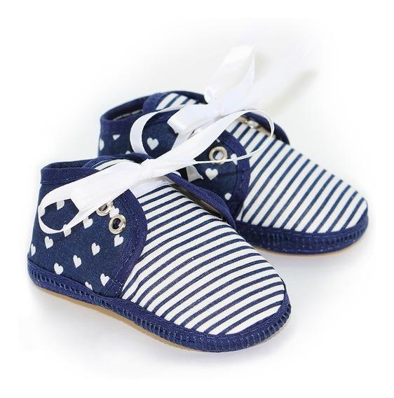 Sapato Bebê Azul Coração - Menina