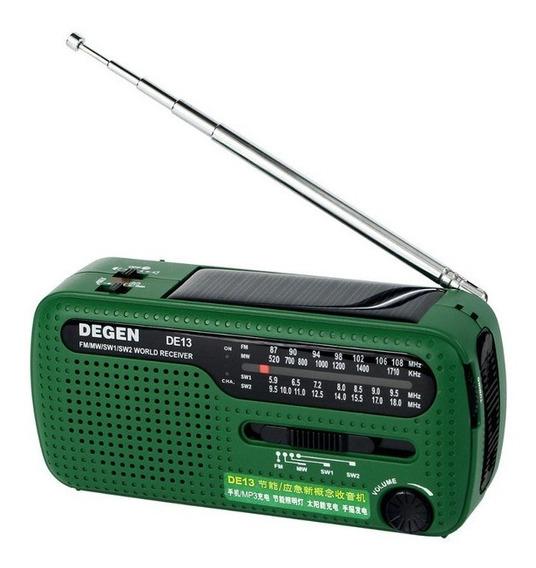 Rádio Degen De13 Am/fm/sw Lanterna Embutida Dínamo Alarme