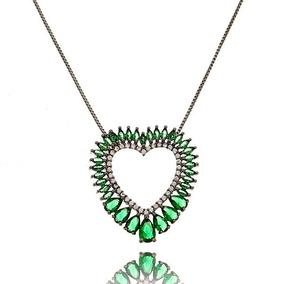 Colar Coração Zirconias Esmeraldas Prata Com Ródio