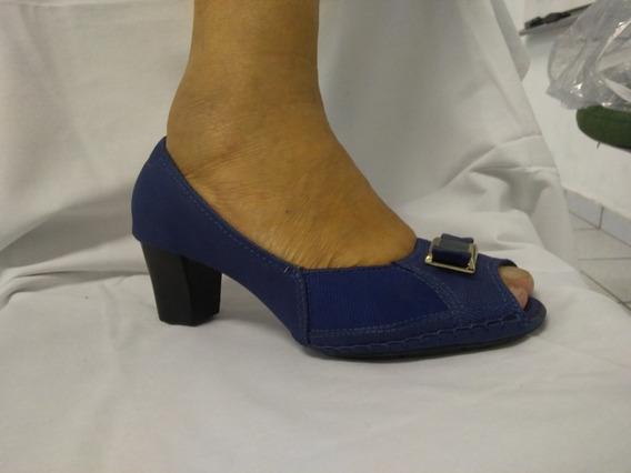 Sapato Peep Toe Azul - Tam: 38 - Usaflex