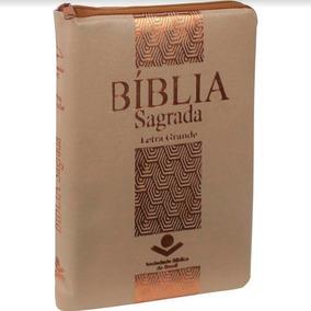 Bíblia Sagrada - Letra Grande Com Zíper - Bege