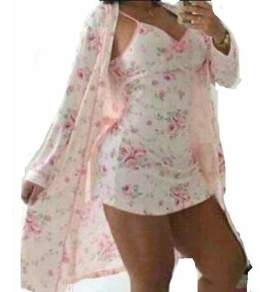 Pijama Espectacular Algodón Seda 2piezas Bata Y Levantadora!
