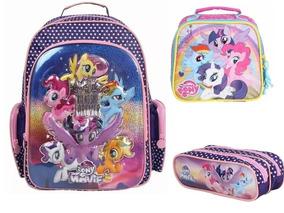 Kit Mochila + Lancheira + Estojo Duplo My Little Pony 11152