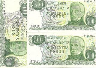 3 Billetes De 500 Pesos Moneda Nacional S/c.