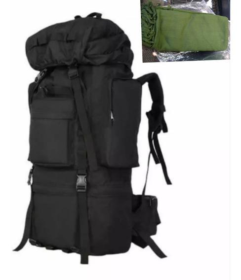 Mochila Para Camping 80l Negro+palestina Militar Verde Olivo