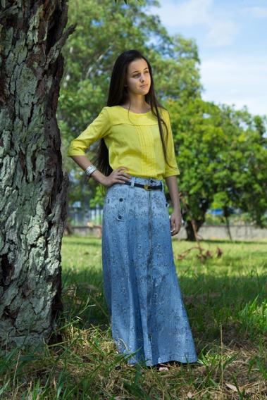 Saia Jeans Longa - Moda Evangélica