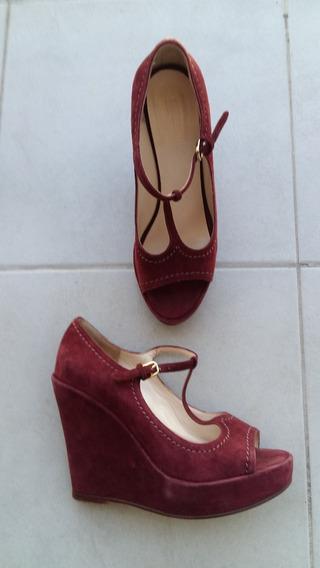 Zapatos Mujer Etiqueta Negra Bordo Sand Taco Alto Plataf 36